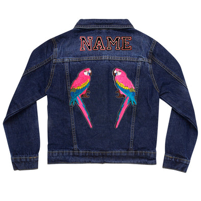 Pink Parrots  Vintage Denim Jacket