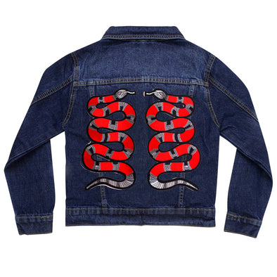 Red Snakes Vintage Denim Jacket
