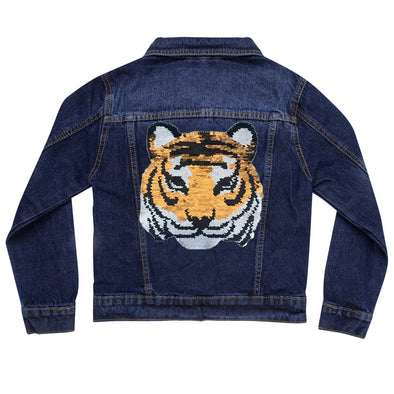 Reversible Sequin Tiger Vintage Denim Jacket