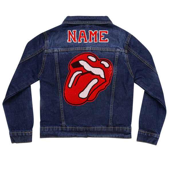 Sequin Rock'n'Roll Lips Vintage Denim Jacket