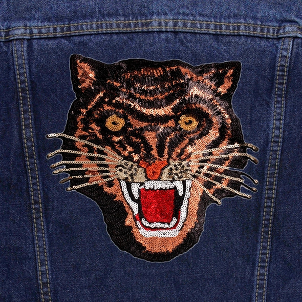 Rose Gold Sequin Tiger Denim Jacket
