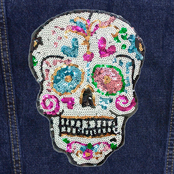 Sequin Candy Skull Denim Jacket