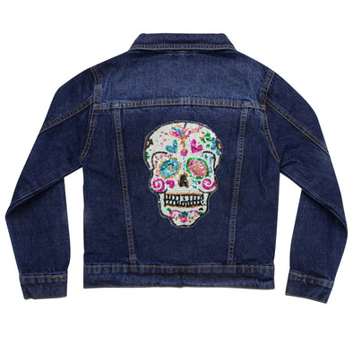 Sequin Candy Skull Vintage Denim Jacket