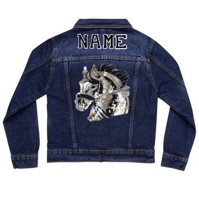 Sequin Horse Head Vintage Denim Jacket