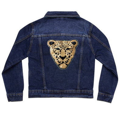 Gold Sequin Leopard Vintage Denim Jacket