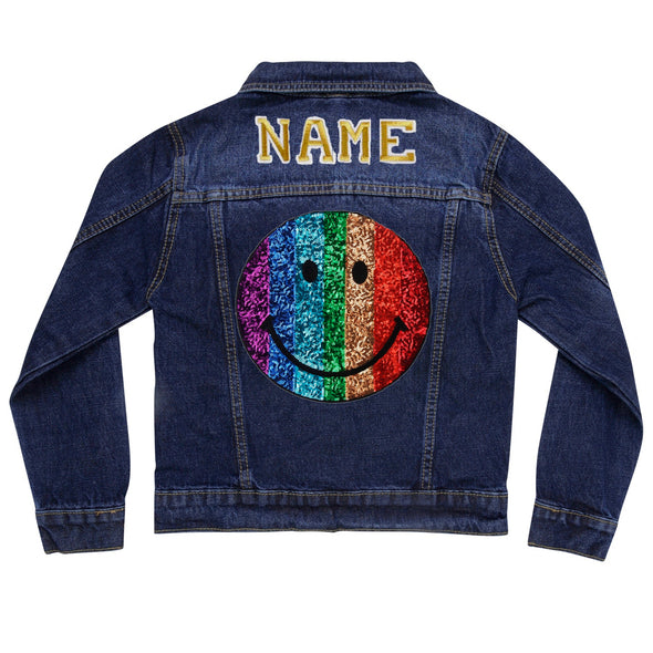 Rainbow Smile Vintage Denim Jacket