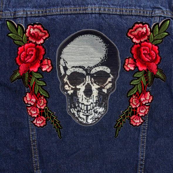 Silver Sequin Skull and Roses Denim Jacket