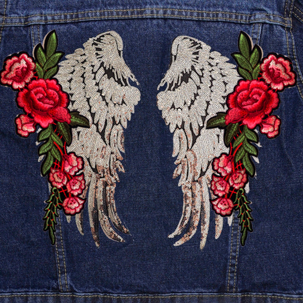 Silver Wings and Roses Denim Jacket