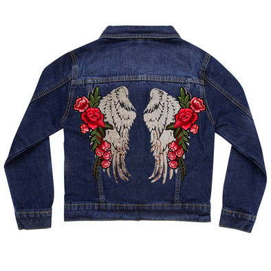 Silver Wings and Roses Vintage Denim Jacket