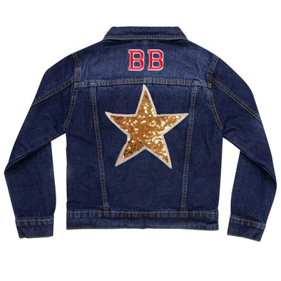 Gold Sequin Star Denim Jacket
