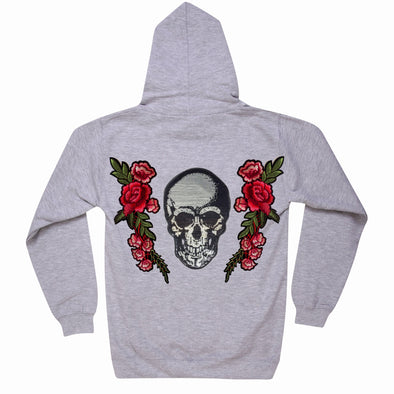 Silver Sequin Skull and Roses Hoodie