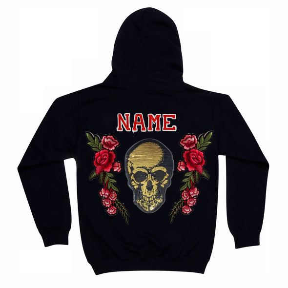 Gold Sequin Skull and Roses Hoodie