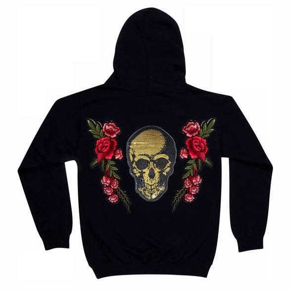 Gold Sequin Skull and Roses
