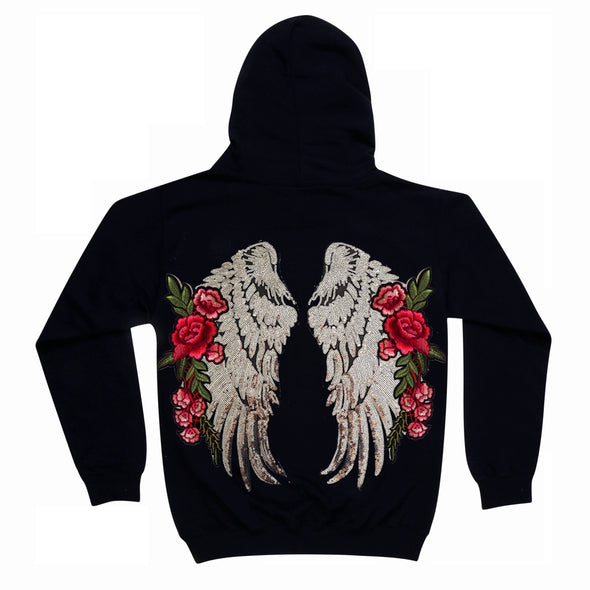 Large Silver Wings and Roses Hoodie