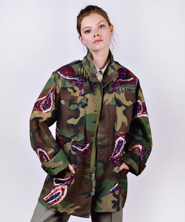 Customised vintage camo jacket with coloured sequins - front view