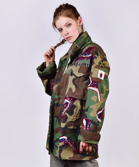 Customised vintage camo military jacket with coloured sequins