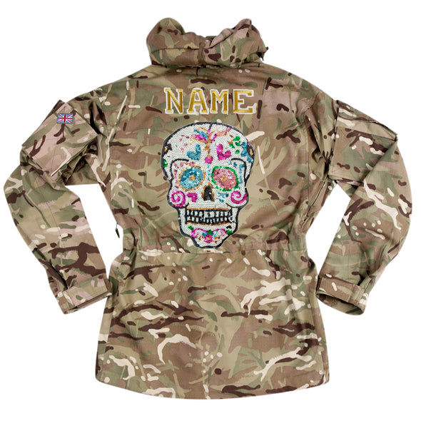 Sequin Candy Skull on Pale Camo