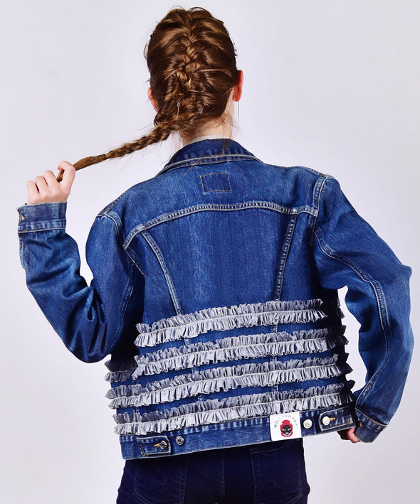 Customised Vintage Denim Jacket with silver ruffles across body - jacket is Lee, Levi, Wrangler, Diesel or similar.