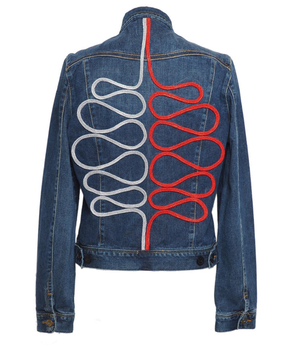 Custom vintage denim jacket - Lee, Levi, Wrangler, Diesel or similar, with braid swirls design on back.