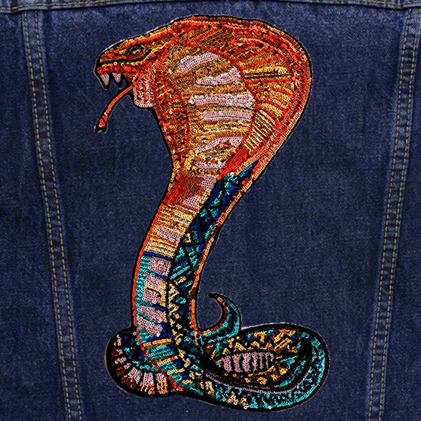Sequin Serpent Vintage Denim Jacket