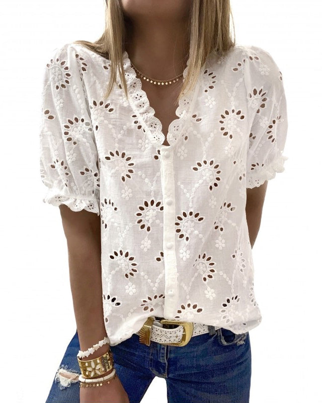 Spelesy Embroidery Button Front Blouse