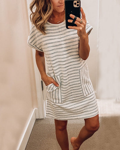 Spelesy Crew Neck Striped Stitching Dress
