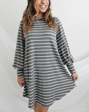 Spelesy Asymmetrical Hem Stripe Dress