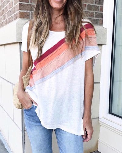 Spelesy Multi Color Patchwork Casual Tee