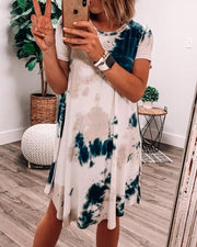 Spelesy Tie Dye Round Neck Dress