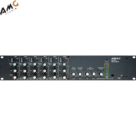 Ashly MX406 Six Channel Rackmountable Stereo Line and Microphone Mixer with Switchable Pad, 48V Phantom Power and Input Sensitivity Per Channel MX-406 - Studio AMG
