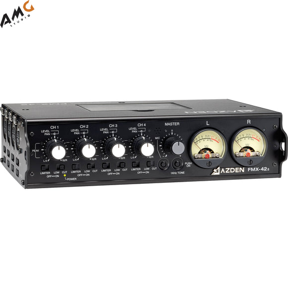 Azden FMX-42a 4-Channel Microphone Field Mixer with 10-Pin Camera Return - Studio AMG