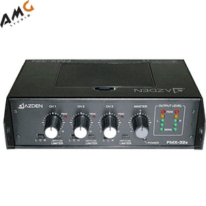 Azden FMX-32A Professional 3-Channel Portable Field Mixer with 3 XLR Inputs - Studio AMG