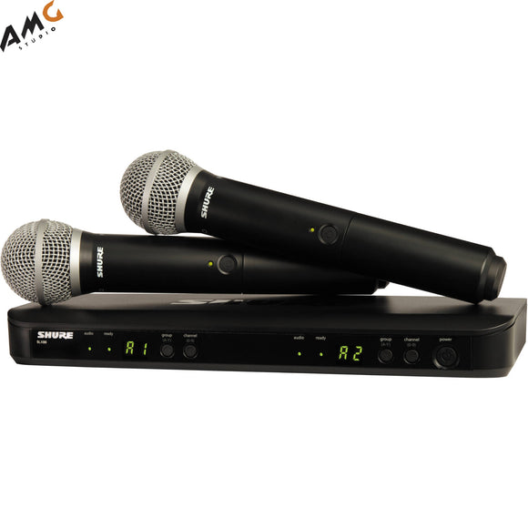 Shure BLX288 Dual-Channel Handheld Wireless Microphone System with 2 PG58 (H9 H10 J10) - Studio AMG