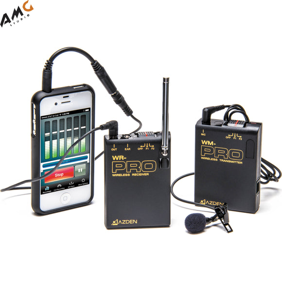 Azden WLX-PRO+i VHF Camera-Mount Wireless Omni Lavalier Microphone System for Smartphones (169 & 170 MHz) - Studio AMG