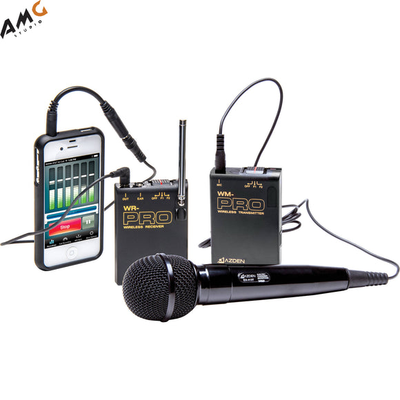 Azden WMS-PRO+i VHF Camera-Mount Wireless Omni Lavalier Microphone System with Handheld Mic for Smartphones (169 & 170 MHz) - Studio AMG