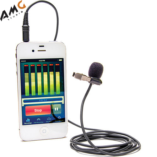 Azden i-Coustics EX-503i Lavalier Microphone For Smartphones And Tablets with TRRS Plug for iOS & Android - Studio AMG