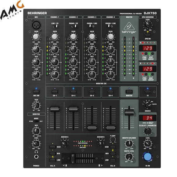 Behringer DJX750 Professional 5-Channel DJ Mixer with Mic Input - Studio AMG