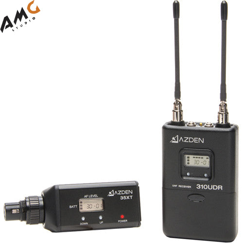 Azden 310XT Camera-Mount Wireless Plug-On Microphone System with No Mic (566.125 to 589.875 MHz) - Studio AMG