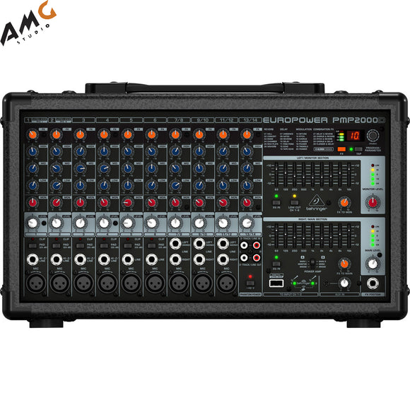 Behringer PMP2000D - 2000W 14-Channel Powered Mixer with KLARK TEKNIK FX - Studio AMG