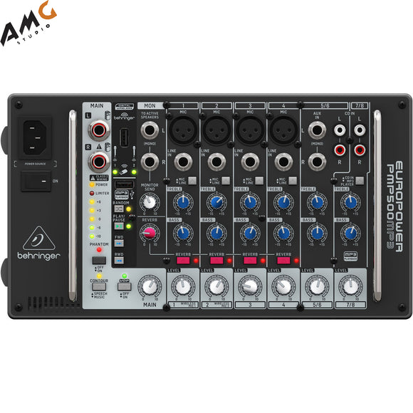 Behringer Europower PMP500MP3 500W 8-Channel Powered Mixer - Studio AMG