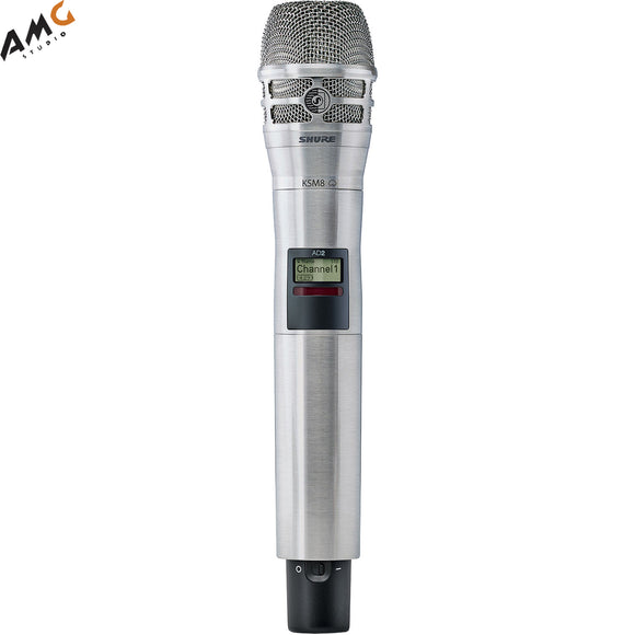 Shure AD2/KSM8N Digital Handheld Wireless Microphone Transmitter with KSM8 Capsule (G57: 470 to 616 MHz, Nickel) - Studio AMG