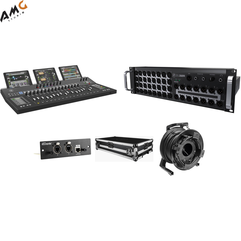 Mackie AXIS Digital Mixing System Touring Kit with DL32R, DC16, DL Dante Expansion, Hard Case, and etherCON Reel