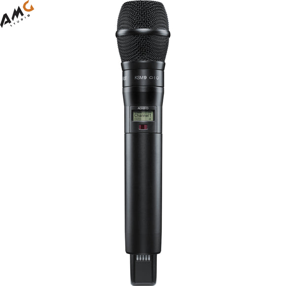 Shure ADX2FD/K9B Digital Handheld Wireless Microphone Transmitter with KSM9 Capsule (G57: 470 to 616 MHz, Black) - Studio AMG