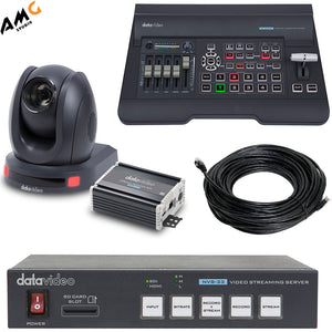 Datavideo EZ Streaming Package B with 1080p PTZ Camera, Switcher, Streaming Encoder, HDBaseT to HDMI Converter - Studio AMG