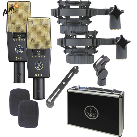 AKG C414 XLII ST Multi-Pattern Large-Diaphragm Condenser Microphone (Matched Pair Stereo Set) - Studio AMG