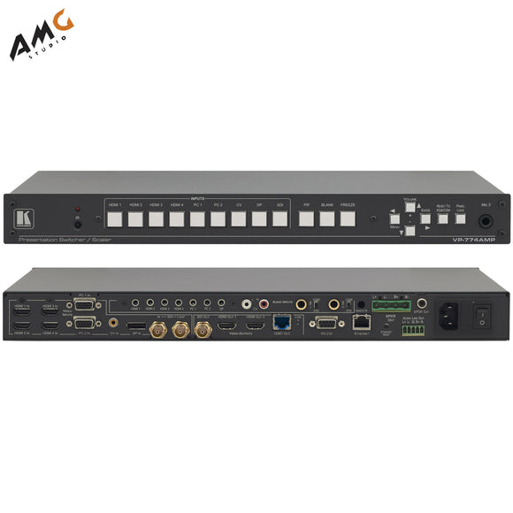 Kramer VP-774A HDMI/HDBaseT Proscale Switcher with Audio Power Amplifier - Studio AMG