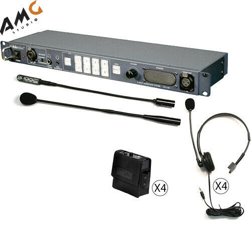 Datavideo ITC-100 PTT 8-User Wired Intercom System with 4 Beltbacks & 4 Headsets - Studio AMG