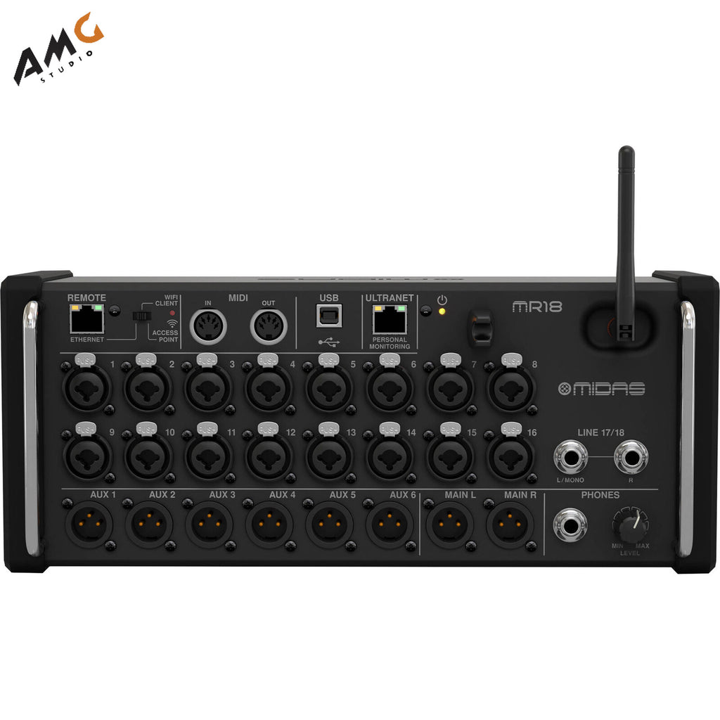 Midas MR18 18-Input Digital Mixer for iPad/Android Tablets Wi-Fi USB Recorder