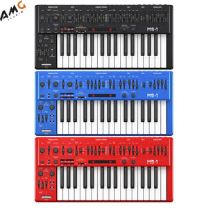 Behringer MS-1 Analog Synthesizer with Live Performance Kit Black Blue Red