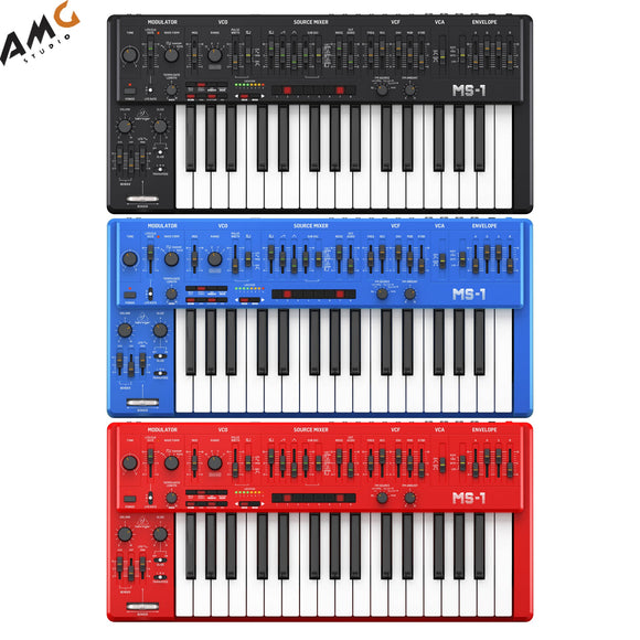 Behringer MS-1 Analog Synthesizer with Live Performance Kit Black Blue Red - Studio AMG